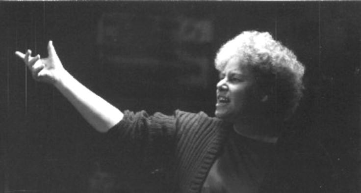 37. Pou Mahi a Iwi. Sue Bradford in the Unemployed Roadshow, 1996.